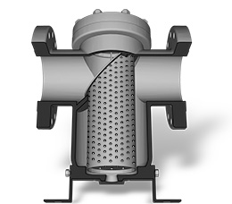 Basket Strainer cutaway showing straining element and flow path